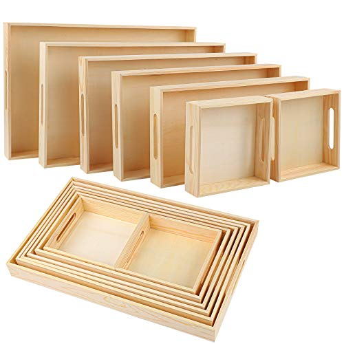Aodaer 7 Pieces Wooden Nested Serving Trays Rectangular Shape Wood Trays Serving Trays with Handles for Kitchen Party Dinner Snacks