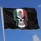 Elaine-Shop Banderas al Aire Libre Bandera de México Cráneo-1 Bandera de 4 * 6 pies para la decoración del hogar Fanático de los Deportes Fútbol Baloncesto Béisbol Hockey