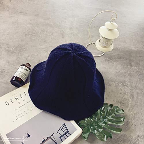 mlpnko Licht Bord einfarbig Becken Kappe zusammenklappbar lässig Fischer Hut Reisen literarischen Wilden Sonnenschirm Hut weibliche Marineblau M (56-58cm)