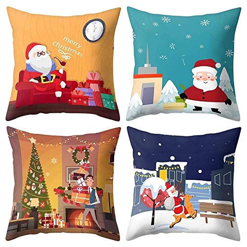 YuKeShop Funda de cojín de poliéster para sofá de coche, decoración del hogar, 4 unidades