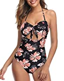 Tempt Me Women Floral Cutout One Piece Swimsuits High Waisted Halter Front Tie Knot Tummy Control Bathing Suit L