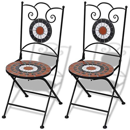 SOULONG Sedie da Bistrot, Set 2 Pezzi Sedia Esterno con Mosaico Pieghevoli in Ceramica, Sedia per Balcone, Terrazza o Giardino, Terracotta