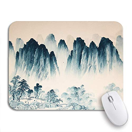 Gaming Mouse Pad Mountain Chinese Landscape Watercolor Painting Japanese Ink China River Nonslip Rubber Backing Mousepad for Notebooks Computers Mouse Mats