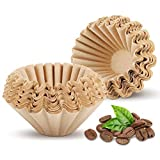 1-4 Cup Basket Coffee Filters Biodegradable Basket Filters Disposable Paper Coffee Filters for Home Office Use, Natural Brown, 100 Count