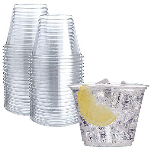 50 Clear Plastic Cups | 9 oz Plastic Cups | Clear Disposable Cups | PET Cups | Clear Plastic Party...