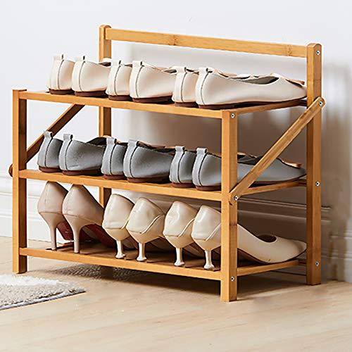 Rack De Zapatos De Bambú,Hogar Simple Poner Puerta 3-capa Pequeño Estante De Zapatos Económicos,Plegable Instalación Gratuita Armario De Zapatos De Almacenamiento De Dormitorios-Color de madera 50x23.