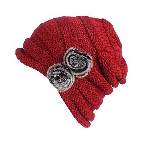 Gorra De Lana De Punto Beanie para Invierno Frio De Mujer con Pompon De Pelo De Conejo (Rojo)