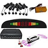 Parking Sensor Rear and Front 8 Sensors Car Reverse Park Kit Buzzer Alarm Alert LED Dispaly Distance Detection Safe (Black)