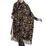 Accesorios de vestidos, manta, tapiz, bufanda con flecos de tacto de cachemira, bufandas cálidas grandes y largas de calidad premium rosa dorada negra W