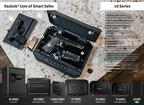 Vaultek VT10i Lightweight Biometric Handgun Bluetooth Smart Safe Pistol Safe with Auto-Open Lid and Rechargeable Battery (Not Compatible with Smart Key)