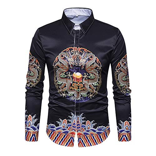WODENINEK heren shirt met lange mouwen, katoen nationale stijl dubbele draak patroon retro minimalisme blouse