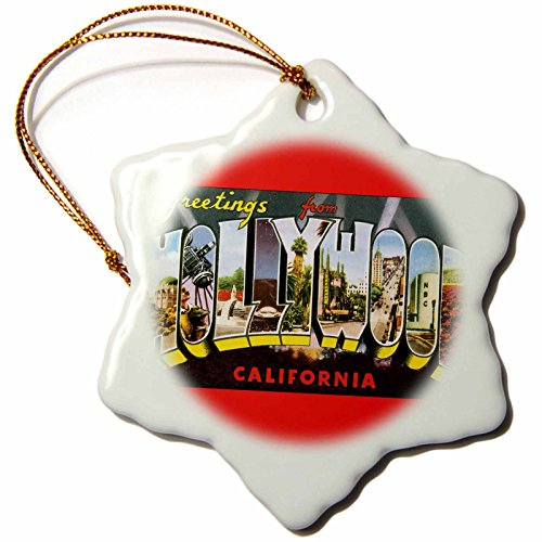 3dRose 'Greetings from Hollywood California Scenic Postcard Design' Snowflake Ornament, Multi-Colour, 3-Inch