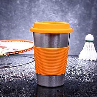 シンプルライフ、ライフアシスタント ラバーサークルバンドとキャップ(オレンジ)を備えた500mlシングルウォール電解研磨ステンレススチールカーリングエッジ飲料カップ、軽量で耐久性があり、洗浄と清掃が簡単 (色 : オレンジ)