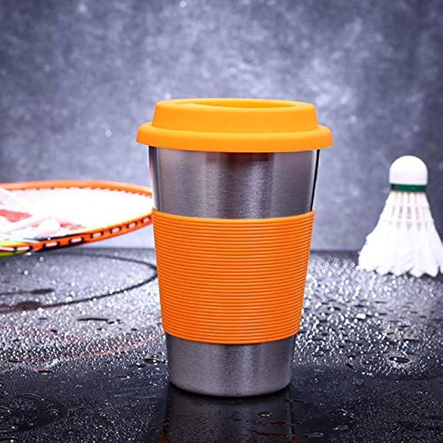 ハングどこでも安西カップマグ 500ml 単壁電解研磨ステンレスカールエッジ飲料カップラバー丸バンドとキャップ (色 : オレンジ)