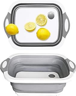 Portable Kitchen Collapsible Dish Tub/Cutting Board/Washing Basin/Drying Rack/Vegetable Basket/Wash Strainer with Integrated Draining Plug, Space Saving 3 in 1 Multifunction Multipurpose Kit