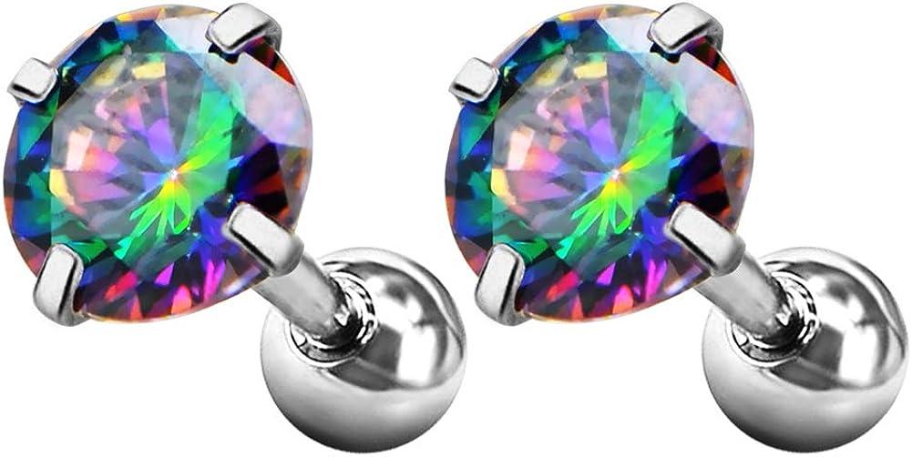 JEWSEEN Tragus Earring 316L Surgical Steel Cartilage Barbell Teardrop Iridescent CZ 16g Helix Earring Stud Earrings Piercing Jewelry
