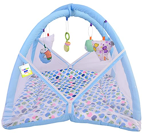 Toddylon New Born Baby Boy's & Baby Girl's Printed Bedding Set Play Gym Mosquito Net Bed with Hanging Toys & Pillow (0-6 Months Blue Dark Apple)