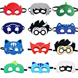 TEEHOME Cartoon Hero Masks Party Favors for Kid (12 Packs) Felt and Elastic with All Characters - Birthday Party Masks for Children