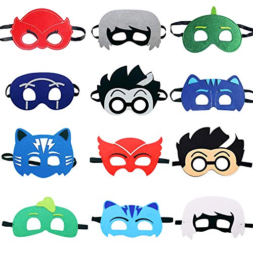 TEEHOME Cartoon Hero Masks Party Favors for Kid (12 Packs) with All Characters - Birthday Party Masks for Children