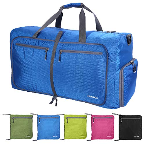 Reisetasche Groß, 85L Leichte Faltbare Reise-Gepäck Seesack Handgepäck Duffel Taschen Weekender Übernachtung Taschen Reisetaschen Sporttasche für Sport Reisen Gym Urlaub (Blau)