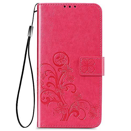ALAMO Vier Klee Hülle für Xiaomi MI 11 Lite, Premium PU Leder Handyhülle mit Kartensteckplätze - Rot
