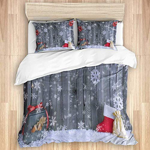 Duvet Cover,Christmas Ornaments Snowflakes Hang on Branch with Xmas Decorations Balls Gifts on Grey Board Wood,Bedding Set Various Style Colour