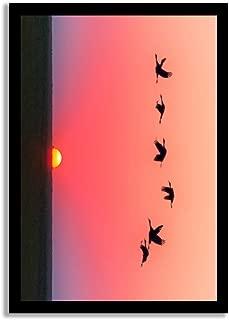 rfy9u7 Wood Pallet Design Wall Art Sign Plaque with Frame Geese Flight Team Sun Migratory Pink Sky Animals Avian Backlit Wood Framed Sign Wooden Signs
