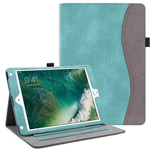 Fintie Hülle für iPad 9.7 Zoll 2018 2017 / iPad Air 2 / iPad Air - [Eckenschutz] Multi-Winkel Betrachtung Folio Stand Schutzhülle Case mit Dokumentschlitze, Auto Sleep/Wake, Jeansoptik Türkis
