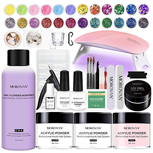 Morovan Acrylic Nail Kit, Glitter Acrylic Powder and Monomer Nail Liquid Set with Nail Lamp Nail Art Sequins Primer Nail Tips for Acrylic Nails