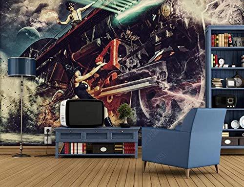 Wallpapaer 3D muurbehang, waterdicht, 3D trein, wooncultuur, tv-achtergrond, fotobehang, 200 x 140 cm
