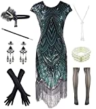 Women 1920s Vintage Flapper Fringe Beaded Gatsby Party Dress with 20s Accessories Set (S, Black Green) (Apparel)