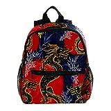 Sacs à Dos pour enfan Dragon Goldren Asiatique Sac à Dos Scolaire Livre Sac avec Poches Latérales Mignon Sac à Dos école 25.4x10x30cm