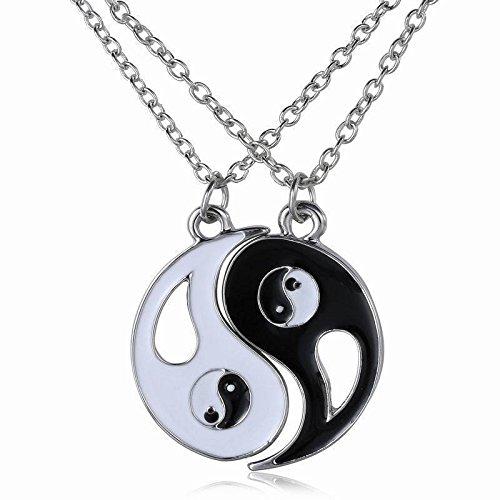 XINTON Collar de Hombre 2 Unids/Set El Mejor Amigo Collar Joyas Yin Yang Tai Chi Colgante Pareja Collar Colgante Unisex Regalo De San Valentín Ewelry