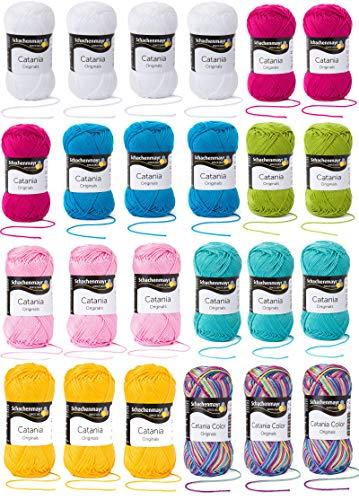 Asmondia Catania Crochet Along 2020 - Summerstripes Plaid Set - Streifendecke in sommerlichen Farben (Original)