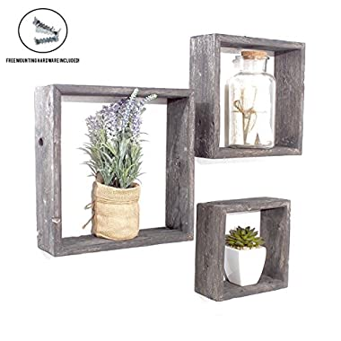 BarnwoodUSA | Rustic Farmhouse Floating Box Shelves | Made of 100% Reclaimed and Recycled Wood | Open Shadow Box Style to Display Pieces or Show Off by Themselves | Black