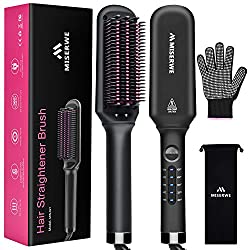 small Hair straightening brush with 5 temperature settings Ion straightening brush for silky hair without curly hair, …