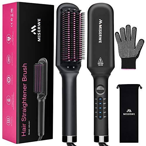 Hair Straightener Brush 5 Temp Settings Ionic Straightening Brush for Frizz-Free Silky Hair, Anti-Scald Fast Heating Auto-Off Safe Straightening Comb for Women.