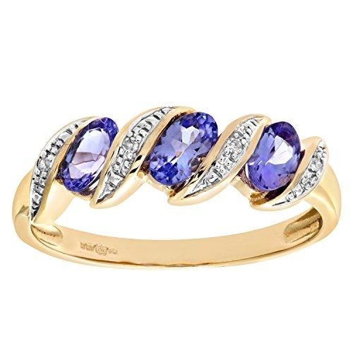 Naava Women's 9 ct Yellow Gold Tanzanite and Diamond Twist Eternity Ring
