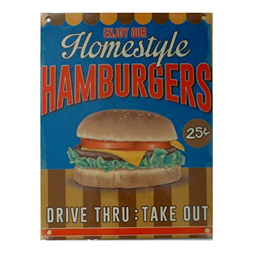 Homestyle Hamburger Metal Sign-Acier 20 x 15 cm