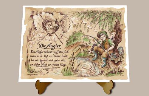 Gedicht Angler Fischer Zeichnung Color 30 x 21 cm mit Aufsteller