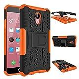 Qiaogle Teléfono Case - Shock Proof TPU + PC Hibrida Stents Carcasa Cover para Meizu M2 Note (5.5 Pulgadas) - HH17 / Negro & Naranja