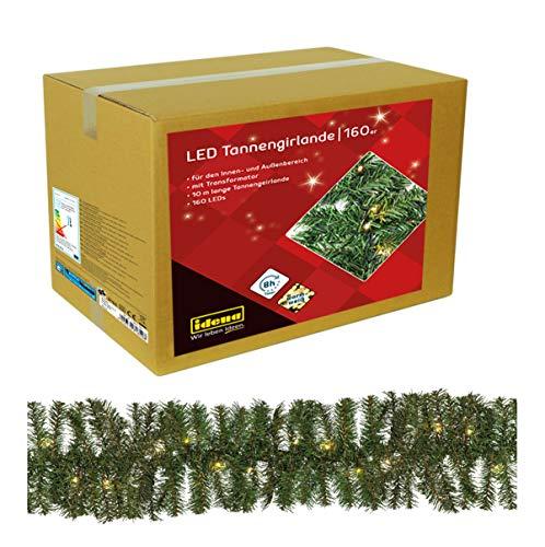 Idena 31854 LED-Dennenslinger met 160 LEDs, Warm Wit, Timerfunctie, Kerstmis, Decoratie en Sfeerlicht, ca. 25 cm x 10 m, Groen