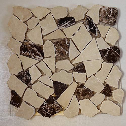 Bruchmosaik Marmor Castanao creme mix 30,5x30,5cm Mosako Naturstsein