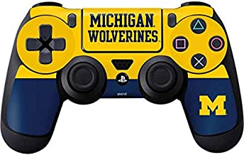 Skinit Decal Gaming Skin for PS4 Controller - Officially Licensed College Michigan Wolverines Split Design