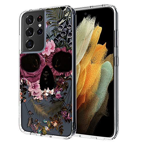 MOSNOVO Galaxy S21 Ultra Case, Skull Floral Flower Pattern Clear Design Transparent Plastic Hard Back Case with TPU Bumper Protective Case Cover for Samsung Galaxy S21 Ultra 5G