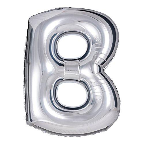 """ballonfritz® Palloncino a forma di lettera B in argento – XXL 40""""/102 cm – palloncini in pellicola per aria o elio come compleanno, anniversario, matrimonio o laurea, decorazione per feste o sorpresa"""