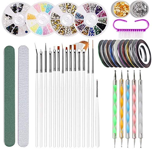 Nagel Kunst Design Set, Yomi 39 Stück Nail Art Set - Nagel Bürste, Streifenband, Punktierung Stift,Pailletten Folienaufkleber,Strasssteine für Nageldisigns