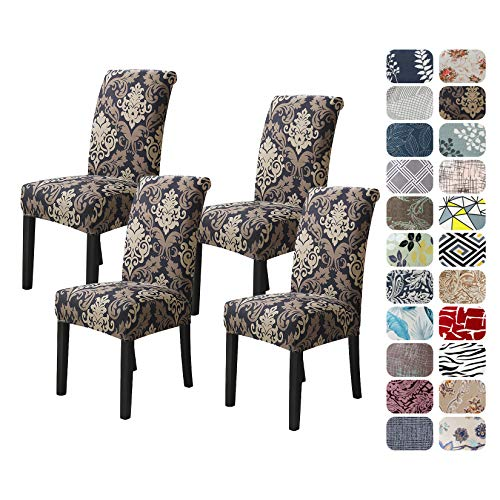 Howhic Chair Covers for Dining Room with Printed Patterns, Easy Slip-on Stretchy Dining Room Chair Covers Set of 4, Washable Dining Chair Covers, Great Decor for Home Party Banquet (4pcs)