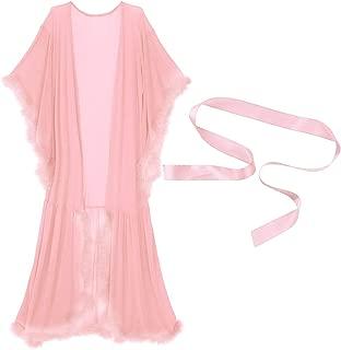 CHICTRY Women's Sexy Mesh Sheer Long Lingerie Robe Babydoll Bathrobe Nightwear Sleepwear