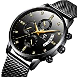腕時計 メンズ腕時計 クラシックなビジネスブラックステンレススチールカジュアル豪華なクォーツ腕時計 防水マルチ機能ミラノストラップ時計 (ブラック)